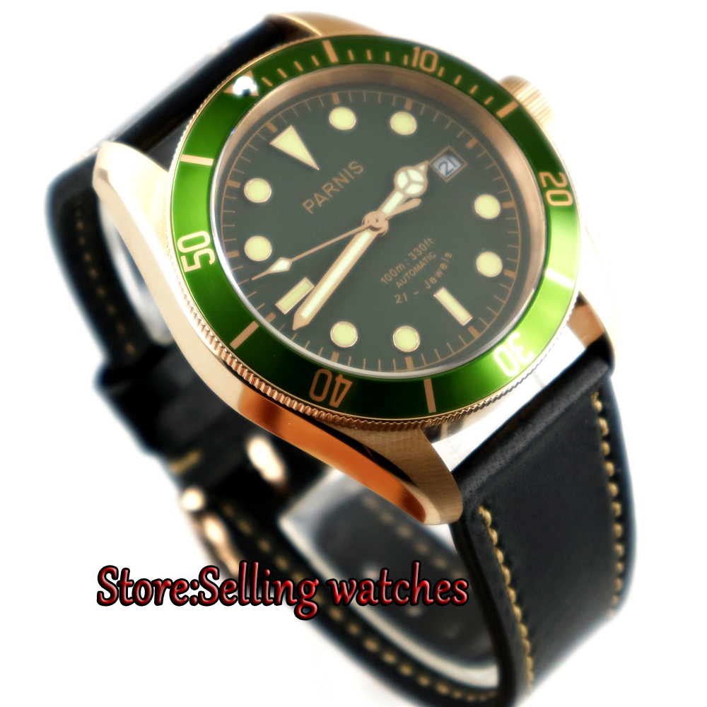 New Parnis 41mm quadrante Verde super-luminoso data cassa in oro Rosa miyota 8215 Automatic mens WatchNew Parnis 41mm quadrante Verde super-luminoso data cassa in oro Rosa miyota 8215 Automatic mens Watch