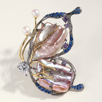 S925 silver plated baroque pearl art retro craft butterfly brooch pendant with multi use