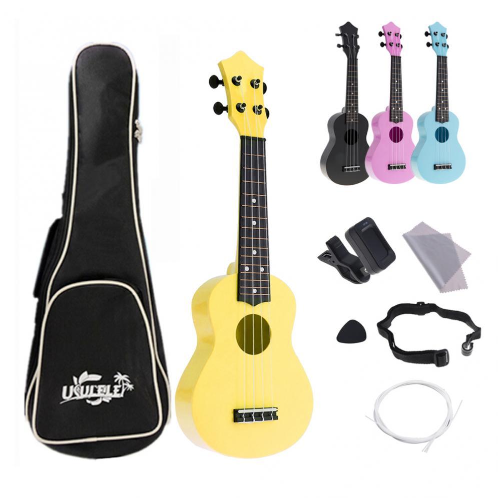 4 cordas 21 Polegada Guitarra Guitarra Instrumento Acústico Colorido Havaí Ukulele Kits Completos para crianças e Música Iniciante