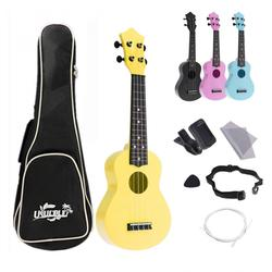 4 cordas 21 Polegada ukulele kits completos acústico colorido havaí guitarra instrumento para crianças e música iniciante