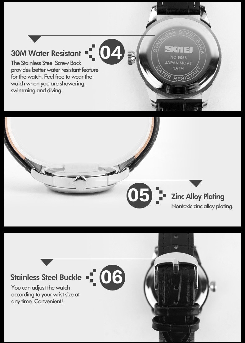 Mens Watches Top Brand Luxury Quartz Watch Skmei Fashion Casual Business Wristwatches Waterproof Male Watch Relogio Masculino