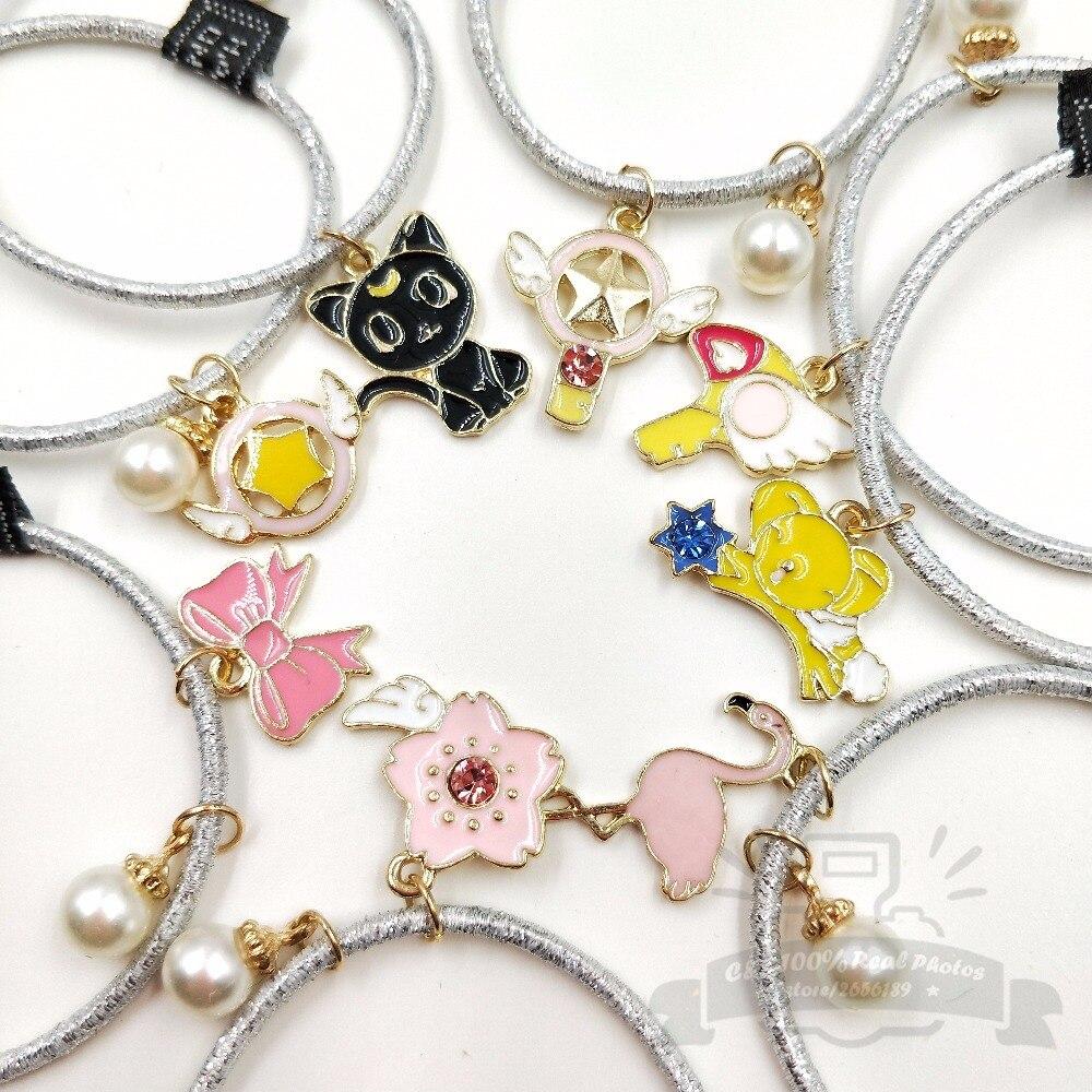 4pcs/set Cartoon CardCaptor Sakura SYAORAN Bird Magic Wand Flower Stretchy Hair Band Accessories Bracelet Kids Childhood Gift