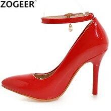 Zapatos de tacón alto de talla grande 48 para mujer, calzado Sexy a la moda, con correas de tobillo, informales, color blanco, rojo, tacones desnudos, para boda