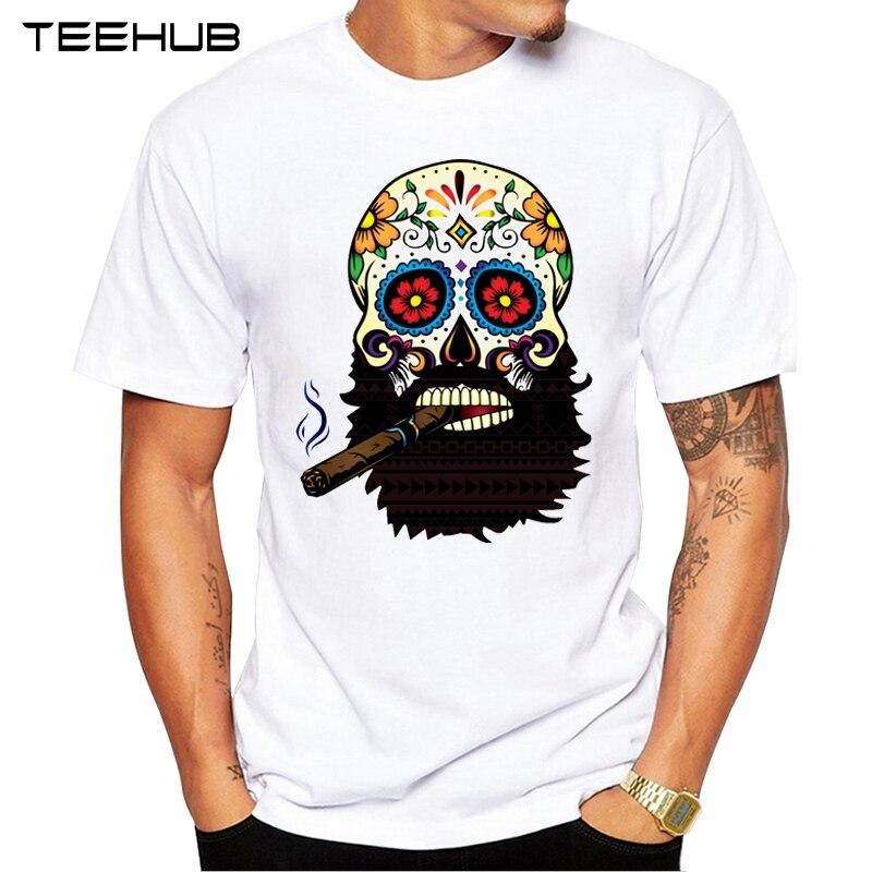 Новое поступление 2021, крутая Мужская модная футболка TEEHUB с изображением черепа сигар, хипстерская футболка с коротким рукавом и круглым выр...