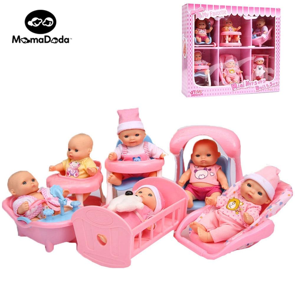 6pcs/set Kids Pretend Play Cute Doll Miniatures Dollhouse Furniture Toy Set  For Girl Reborn