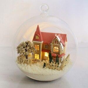 DIY Doll House Miniature Dollhouse 3D Casa Model Glass Ball House For Dolls Handmade Christmas Gift Toys For Children B009 #E