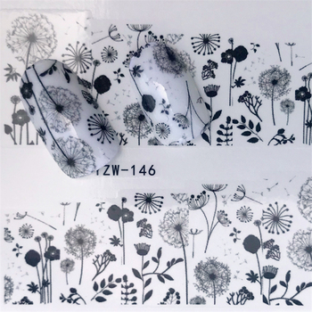 FWC New Black Flower Lace Designs Nail Art Water Decals Transfer Nail Stickers Decoration Elegance Manicure Tool kads 35sheets new design flower cartoon lace water nail stickers water transfer nail art decals beauty full wraps manicure