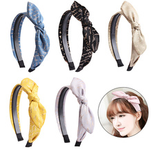 Candygirl Bow Knotted Hair Band High Quality Cotton Dual Row Teeth Stable Headbands Hairbands for Women Girls Daily Party Wear