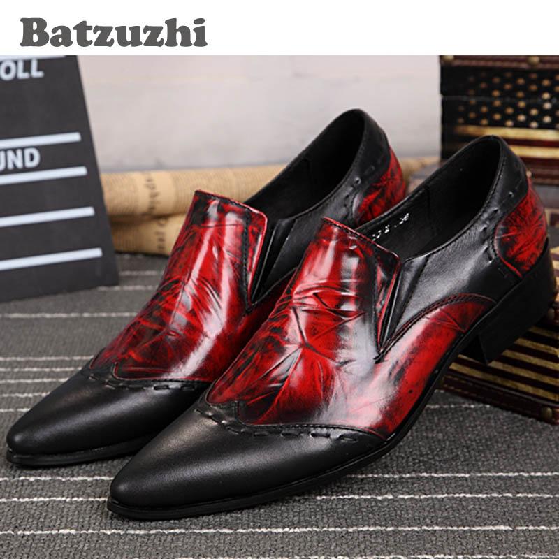Batzuzhi Японский Стиль Высота Увеличение Мужской Обуви Натуральной Кожи Мужчины Туфли Острым Носом Красный Свадебные Туфли Мужские, 46