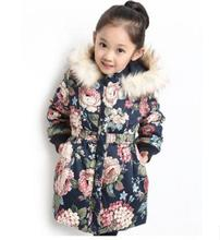 2017 Winter Girls Clothing Padded Jacket  kids Girl Hooded Coat Thicken Warm Long Floral Cashmere Cotton-Padded Clothes ZFD003 kids clothing 2017 winter boys warm clothes child cartoon padded coat trousers suits girl sportswear high quality babys jacket