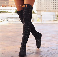 Thigh High Boots Female Winter Boots Women Over The Knee Boots Flat Stretch Cross Straps Sexy