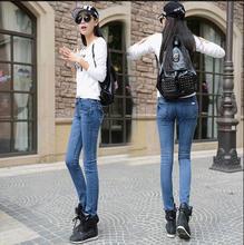 Осенние высокой талией джинсы женские брюки сплошной цвет эластичные брюки карандаш тонкие узкие брюки плотно