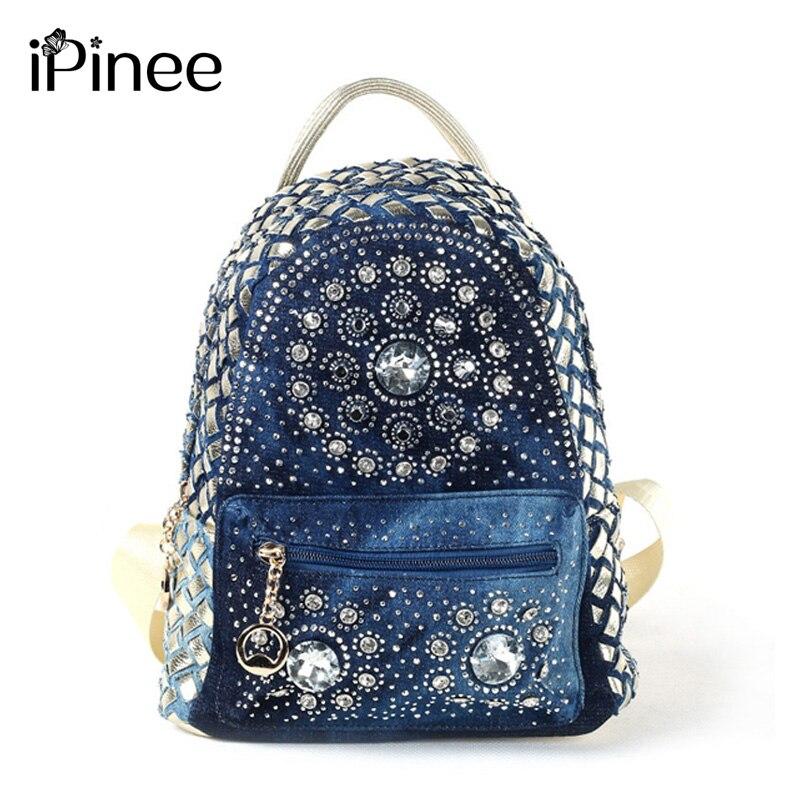 iPinee 2018 New Backpack Ladies Denim Bag Small Women Backpack Mochila Feminina School Bags for Teenagers цена