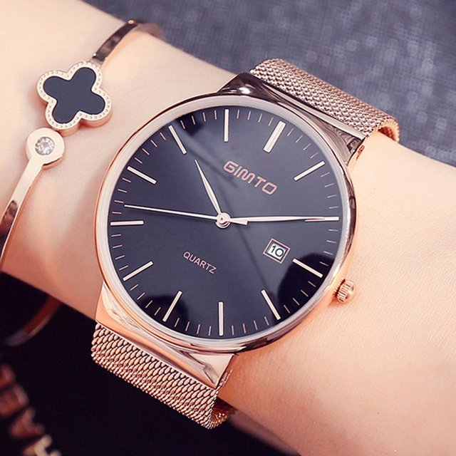 Fashion Rose Gold Lady Casual Watch Minimalism Classic Analog Wristwatch for Wom