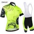 BXIO с коротким рукавом Велоспорт Джерси наборы флуоресцентный Ropa Ciclismo велосипедная Одежда Майо Ciclismo MTB велосипед одежда BX-0209M183