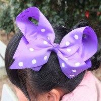 5 pcs 6 inch Dots Hair bow Hair Clips Toddler Baby Girl hair accessories Hairpins Headwear School Large Hair bow Hairgrips