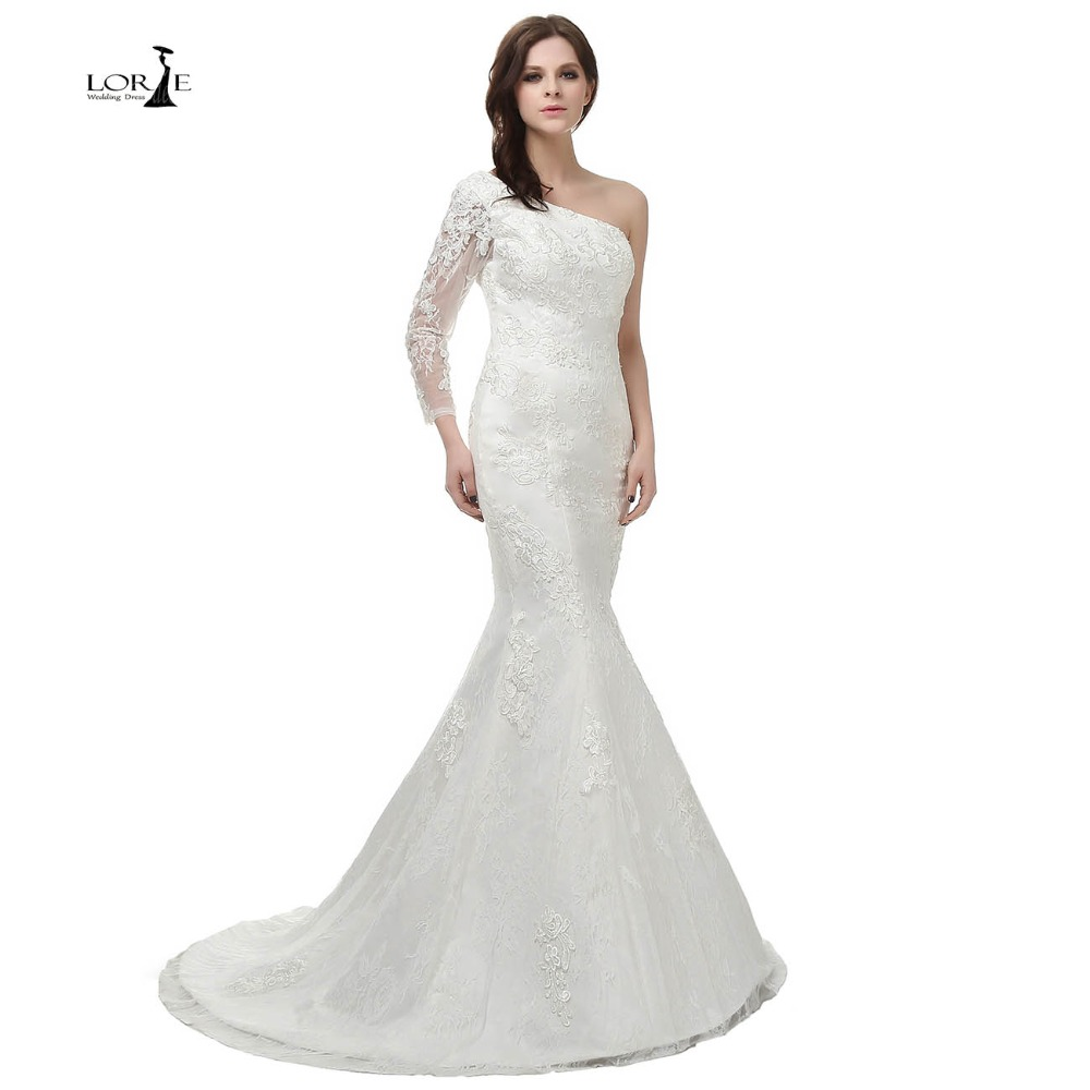 lorie high quality one shoulder lace mermaid wedding dresses lace appliques wedding gowns elegant simple
