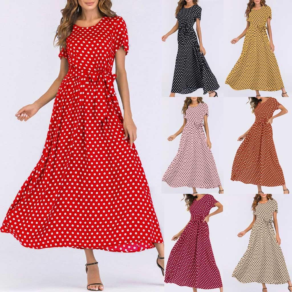 Women Dress 2019 Fashion Women O-Neck Short Sleeve Beach Polka Dot Bandage Long Maxi Dress Party Dress Vestidos Plus Size