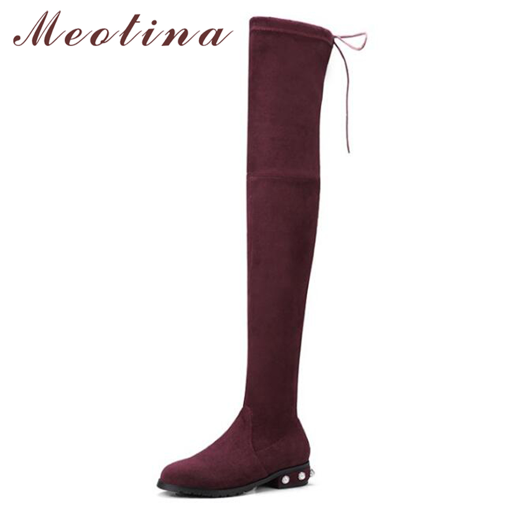 Meotina Winter Over The Knee Boots Designer Women Riding Boots Stretch Thigh High Boots Flock Slim String Bead 2018 Footwear 44Meotina Winter Over The Knee Boots Designer Women Riding Boots Stretch Thigh High Boots Flock Slim String Bead 2018 Footwear 44