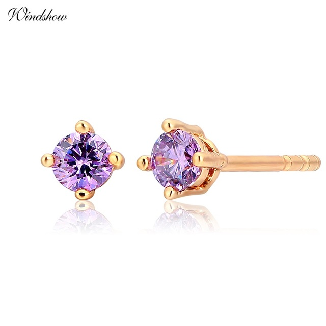 Cute Yellow Gold Color Round Purple Cz Mini Small Stud Earrings For Women Kids S Baby