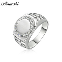 AINOUSHI Fashion 925 Sterling Silver Men Wedding Engagement Round Rings Male Silver Anniversary Birthday Party Rings Jewelry