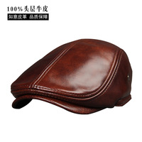 2017 New Arrival Genuine Cowhide Leather Hats Men S Adult Leather Cap Spring Autumn Winter Cotton