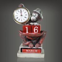 Monkey Sculpture Table Clocks Retro Home Accessories Manually Change Calendar Mute Watch Modern Minimalist Decor Children Gift