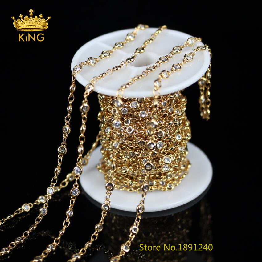 5Meters,Clear White Zircon Faceted Flat Round Chains,4mm,6mm CZ Bead Golden Plated Wire Wrapped link Chain Rosary Necklace,KS-21 5pcs 2 4mm silver plated ball beads chain necklace bead connector 65cm 25 5 inch z1 06