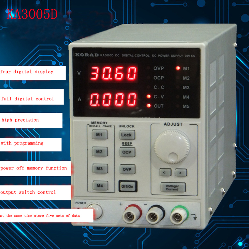 ФОТО KA3005D high precision Adjustable Digital DC Power Supply mA 0~30V 0~5A for scientific research service Laboratory