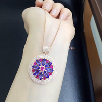 2017 Collares Collier Qi Xuan_Fashion Jewelry_Blue Stone Necklaces_Rose Gold Color Flower Blue Necklaces_Factory Directly Sales