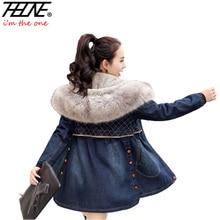 2016 Winter Jackets Women Jeans Coat Warm Fleece Hooded Faux Fur Thick Outwear Overcoat Denim Coats Jeans Jackets Female Parka