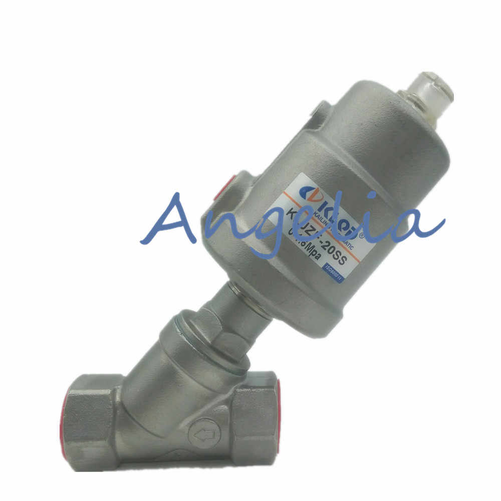"3/4"" DN20 BSP Stainless Steel Single Acting Air Actuated Angle Seat Valve Normally Closed"