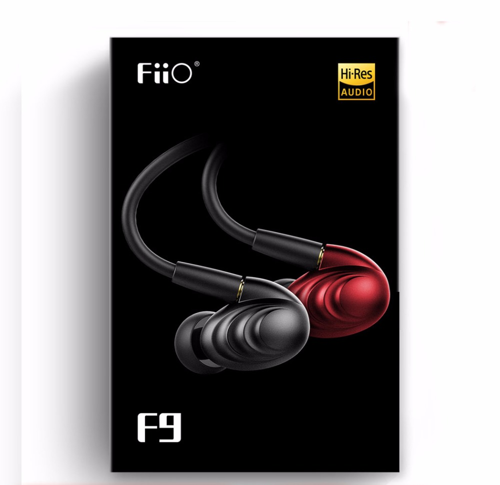 FiiO F9 Triple Driver Hybrid Dynamic HIFI earphone in-ear 3.5mm plug replacement wire with mic for smart mobile phones all new fiio f3 dynamic in ear monitors earphone with in line microphone and remote controls 3 5mm l shaped jack colorful earbud