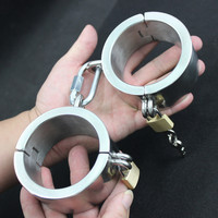Sex Bracelets Stainless Steel Handcuffs Bondage Restraints Metal Fetish Lock Hand Cuff Adult Game Sex Toy for Couples G7 6 45