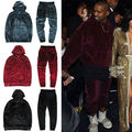 Kanye West YEEZY Hip Hop de Los Hombres de Terciopelo de terciopelo Chándal Con Capucha Pantalones Joggers Streetstyle causual Chándal de Terciopelo Con Capucha