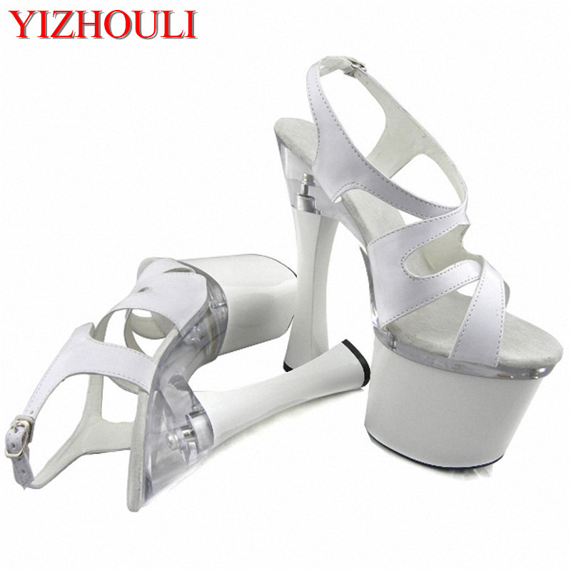 36d7c4036bc8 HOT All-match fashion comfortable thick heel sandals 18cm show spool heels  high-heeled shoes 7 Inch Stiletto With Platform shoes