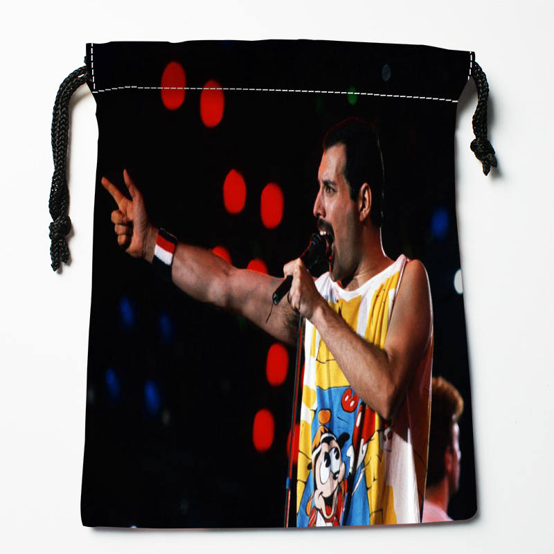 Custom Freddie Mercury  Printed Satin Storage Bag Drawstring Gift Bags More Size Storage Custom Your Image 27x35cm