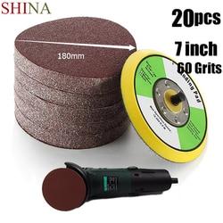 SHINA 20pcs/lot 7''/180mm 60 Grits Power Sanding Disc Round Sandpaper Sander For Woodworking Hook and Loop Sand Disc