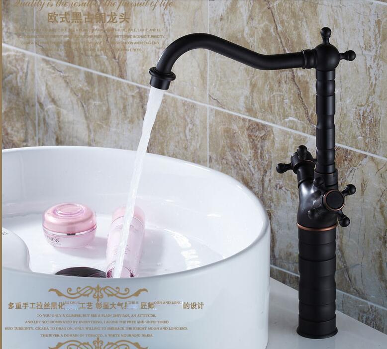 Robinet de lavabo en verre continental en laiton noir bronze robinet antique lavabo chaud et froid au-dessus du comptoir robinet de lavabo LU4139Robinet de lavabo en verre continental en laiton noir bronze robinet antique lavabo chaud et froid au-dessus du comptoir robinet de lavabo LU4139