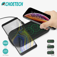 CHOETECH Dual Wireless Charger 5 Coils Qi Fast Charging Pad Compatible for iPhone X XS Max Samsung S8 S9 S10 New AirPods