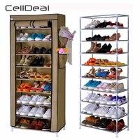 CellDeal 10 Tiers Non Woven Fabric Dustproof Shoe Rack Storage Organizer Cover Cabinet Shoe Racks Shelf Cabinet 58x28x170cm