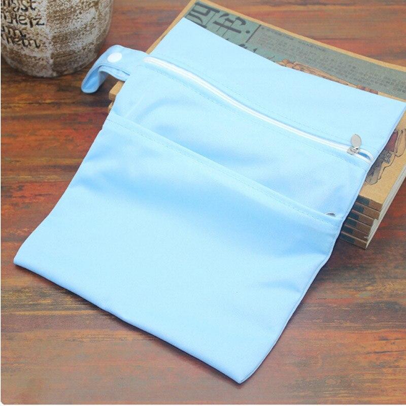 Reusable Baby Diaper Bags Double Zippered Wet/Dry Bag Waterproof Wet Cloth Diaper Stroller Hanging Outdoor Diaper Cover Wet Bag