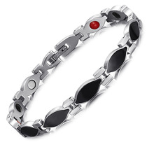 Stainless Steel Intersilver Black Magnet Bracelet Four In One