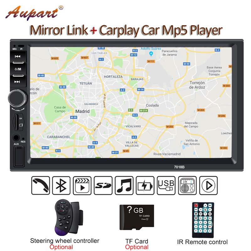 2 Din Multimedia Player DIN car radio with rear camera General 7'' Touch Screen Autoradio Car MP5 New 7018B Carplay & Mirrorlink-in Car Multimedia Player from Automobiles & Motorcycles