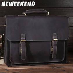 NEWEEKEND 6912 ретро пояса из натуральной кожи Топ Crazy Horse 14 дюймов портфели сумка-мессенджер на ремне ноутбука iPad сумка для человека