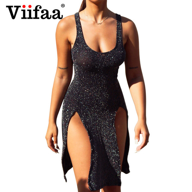 e3e5da2c3 Viifaa Bodycon Club Dress Sexy Split Mini Black Dresses Clubwear Women  Backless Party Shining Short Dress