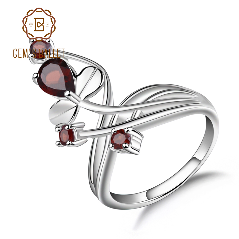 Gem's Ballet 1.3Ct Natural Red Garnet Gemstone Ring Solid 925 Sterling Silver Flower Ring For Women Wedding Fine Jewelry