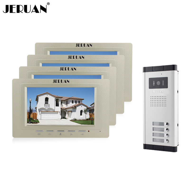 JERUAN Wholesale New Home Apartment Intercom System 4 Monitors Wired 7 Color HD Video Door Phone intercom System FREE SHIPPING brand new apartment intercom entry system 2 monitors wired 7 color video door phone intercom system for 2 house free shipping
