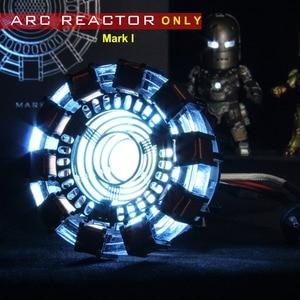Image 2 - Avenger 1:1 Iron Man Arc Reactor Action Figure MK1 Ironman Reactor Tony Stark Arc Reactor DIY Parts Model Toys With LED Light