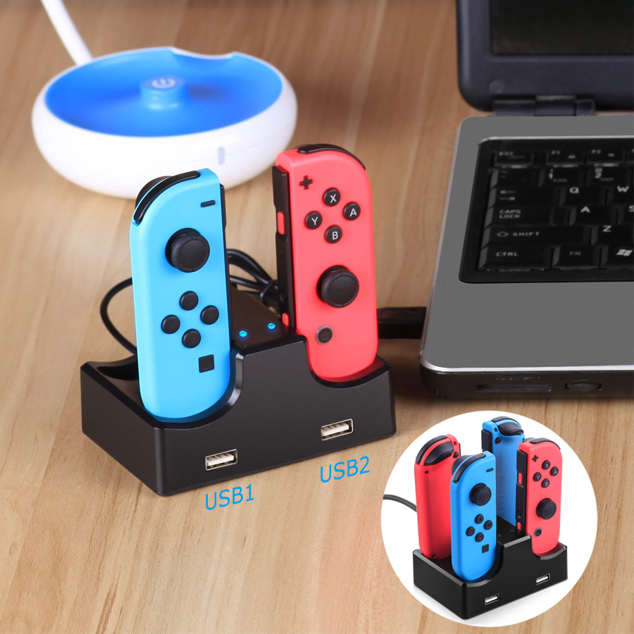 KYVG 4 In 1 USB Charging Dock Station Charger Stand Holder for Nintend Switch NS Joy-Con with 2 Extra USB Port & LED Indicator smart watch charger cradle with usb charging cable for huawei watch 1 band power charge dock station magnetic charger for huawei